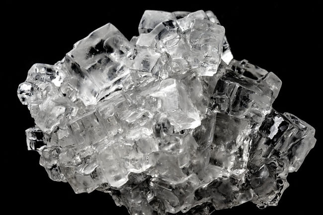 Cubic salt crystal aggregate against black background, isolated Black Background Isolated Aggregate Black Background Close-up Crystal Cubic Gemstone  Geology Halite Mineral No People Quartz Salt - Mineral Studio Shot