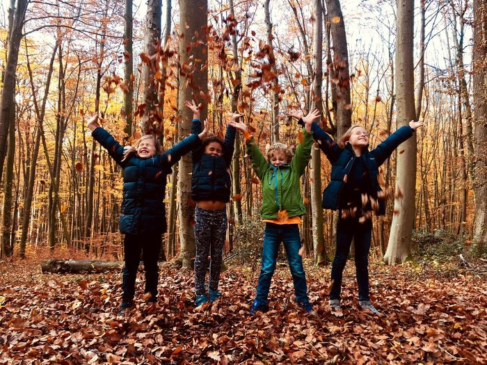 Colourful Forest Leaf Wood Laughing Enyoing Nature Careless Group Of People Real People Child Boys Leisure Activity Standing Childhood Nature Tree Land Togetherness Enjoyment Friendship Lifestyles Fun Autumn Mood 50 Ways Of Seeing: Gratitude