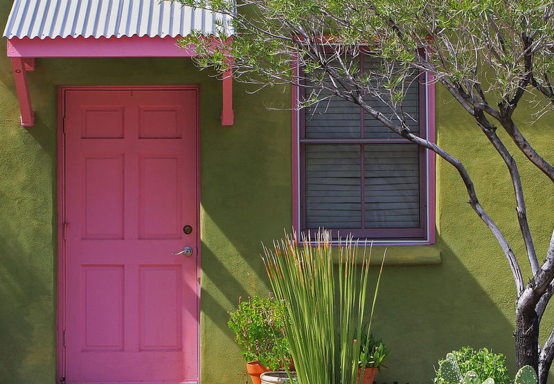 Pink and Green Adoby Architecture Barrio Building Exterior Colors Desert Door Entrance Entrance Eric Barnes Photography Green House Pink Southwest  Tucson Arizona  Window Pastel Power Urban Spring Fever