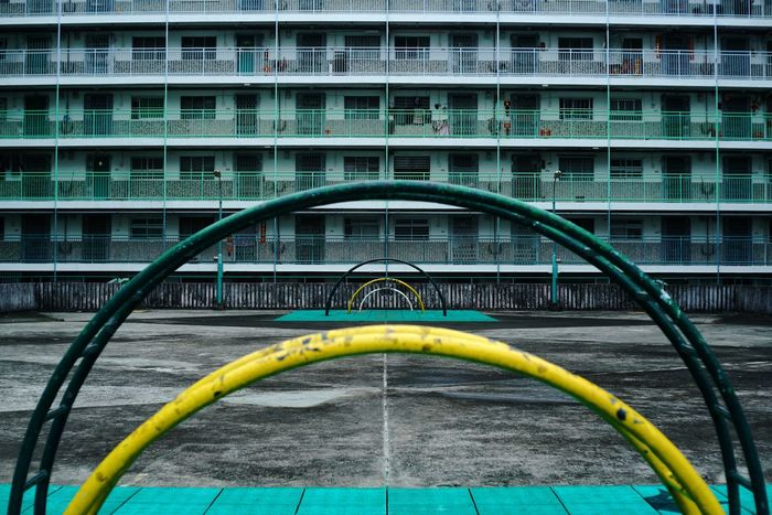 curve Building Town Cities Urban Buildings ArchiTexture Street Feel HongKong Colors Cultures Estate Nam Shan Estate Architecture Building Exterior Motion Built Structure Speed Outdoors Modern Day Multi Colored No People City Cityscape