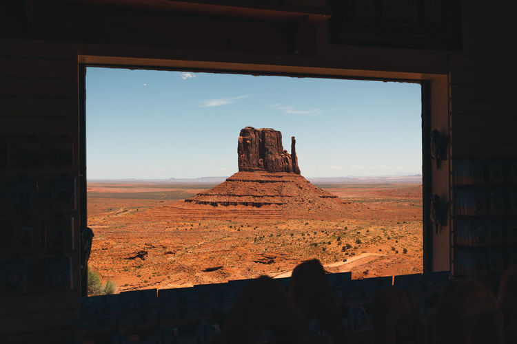 Rock formation seen through window