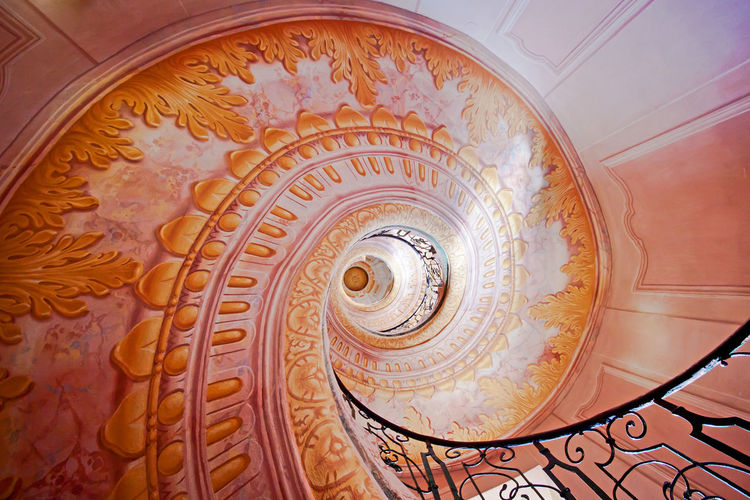 Melk, Austria Melk Abbey Staircase Stairway Architecture Steps And Staircases Spiral Staircase Railing Low Angle View Wall Painting Wall Pattern Floral Pattern Geometric Shape Ornate Golden Ratio 1.618