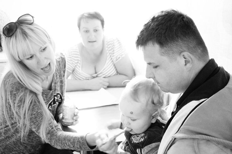 Love Family❤ Parents And Children Beauty Working Together Cute♡ Black&white