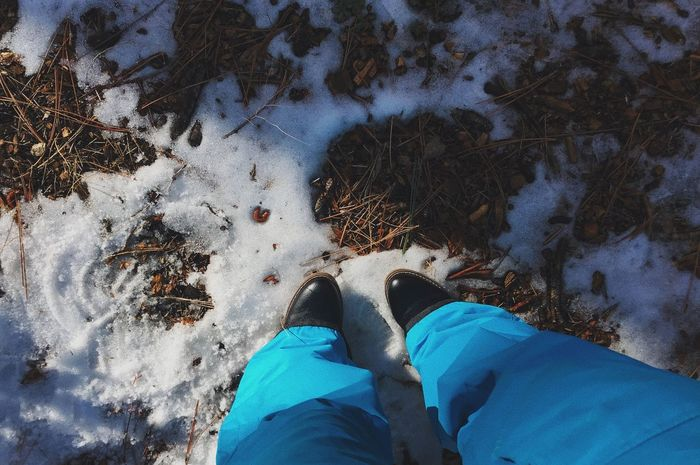I'll stop the world and melt with you ❄️ Ice Snow Low Section Shoe Personal Perspective One Person Real People Standing Outdoors Blue Nature Winter Close-up High Angle View