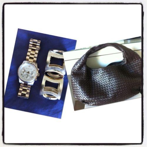 Today Accesories . Bodega Veneta Bag, Michael Kors Gold Watch And Matching Bracelet Fr Florenze