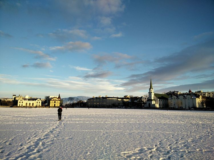 Reykjavík Reykjavik Iceland Snow Downtown Frozen Lake