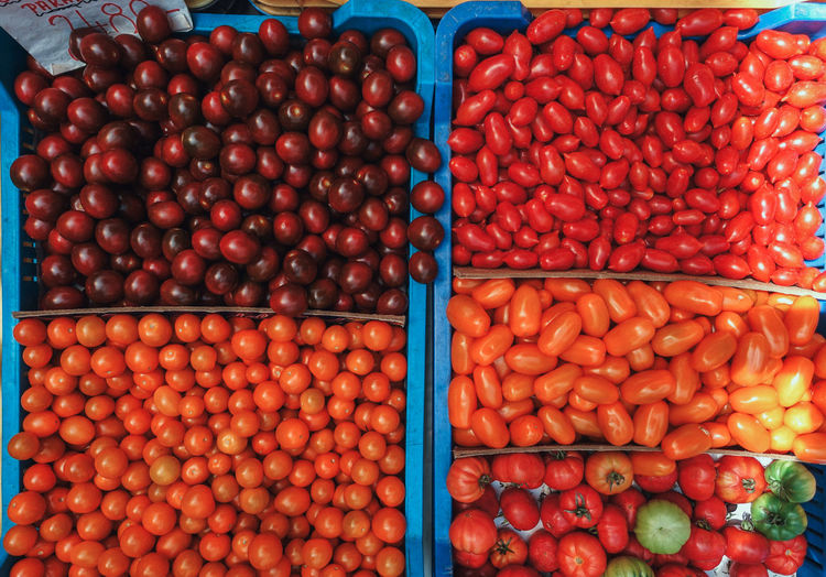 Travel Travel Photography Abundance Choice Container Farmer's Market Food Food And Drink For Sale Freshness Fruit Full Frame Healthy Eating High Angle View Large Group Of Objects Market Market Stall No People Red Retail  Retail Display Ripe Sale Tomato Vegetable Wellbeing