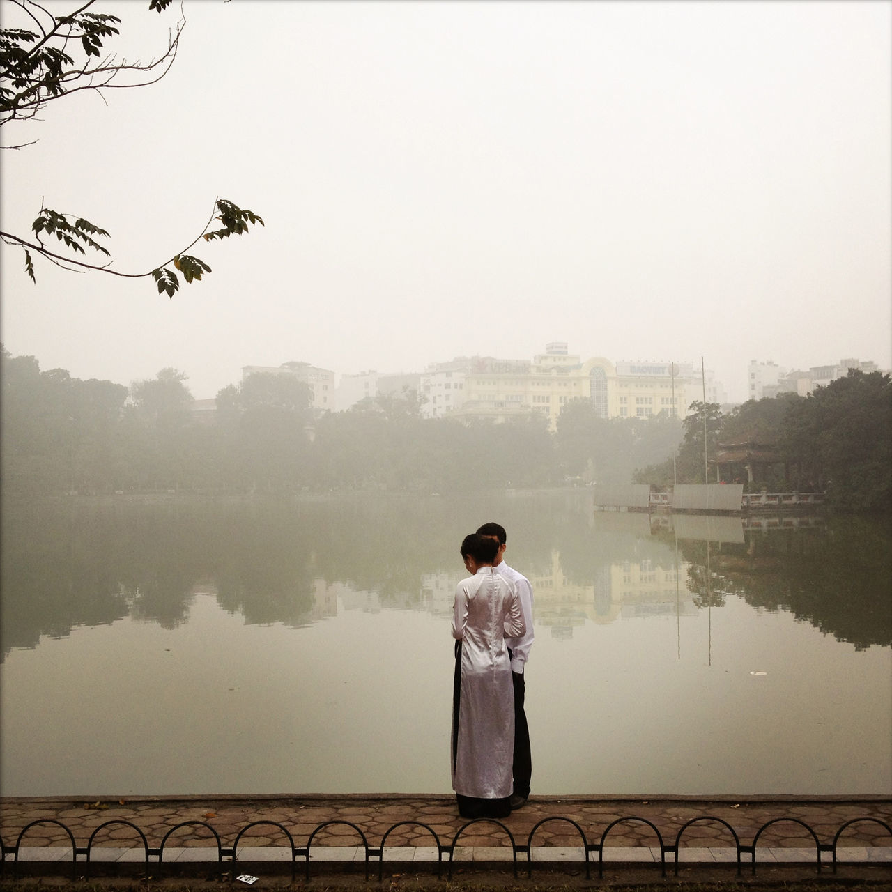 standing, tree, river, real people, railing