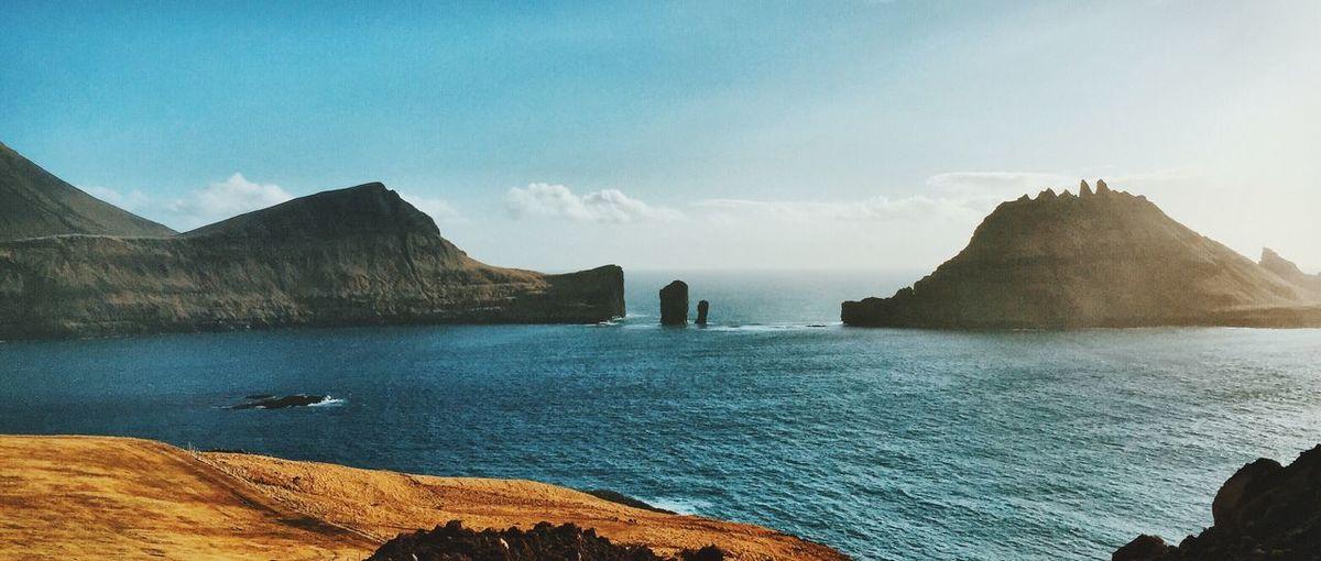 Panoramic shot of faroe islands against sky