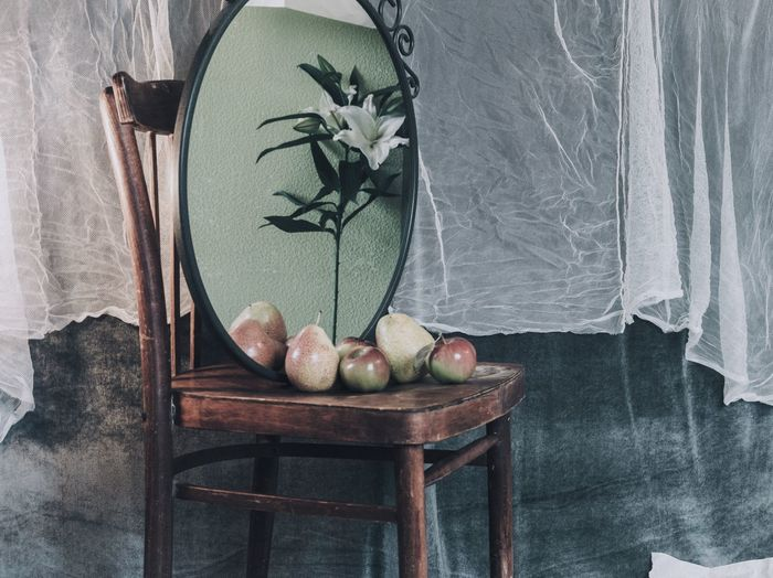 Gypsy sketch StillLife Scene Backstage Fruit Apple Pear Mirror Reflection Lily Indoors