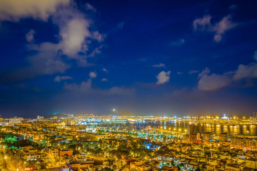 Canary Islands City Cityscape Gran Canaria Las Palmas Las Palmas De Gran Canaria Night Lights Architecture Building Exterior Built Structure Capital Cities  City City Landscape City Lights City View  Cityscape Clouds And Sky Daylight Landscape Night Night View Outdoors Sea And Sky Sky Sunset