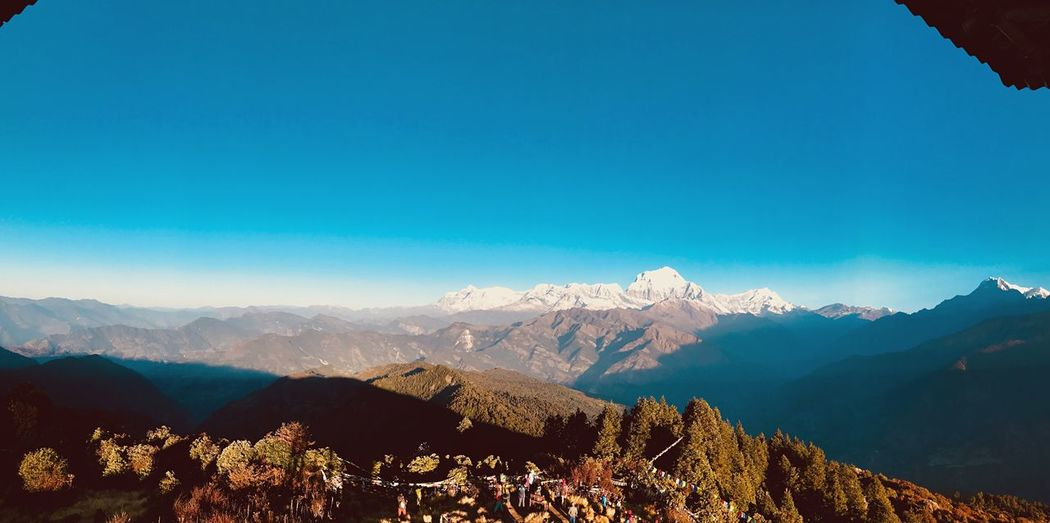 Nepal, POON HILL 🏔 Mountain Mountain Range Nature Beauty In Nature Scenics Tranquil Scene Blue Outdoors Day Tranquility Winter Cold Temperature Sky Landscape Snow Clear Sky Tree View Nepal Travel Bluesky Snowcapped Mountain Feel The Journey Feeling Panorama