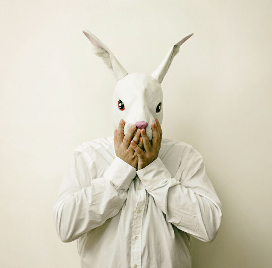 Focus On Foreground Front View Funny Funny Faces Holding Indoors  Mask Masked Oh My God One Person Rabbit Rabbit Man Studio Shot Three Quarter Length