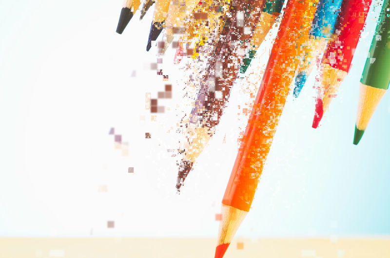 colourful pencils over beautiful reverberation gradient background Still Life Close-up Multi Colored Indoors  No People Focus On Foreground Pencil Art And Craft Writing Instrument Choice Variation Studio Shot Colored Pencil Education Creativity Group Of Objects Table Selective Focus Craft Motion Art And Craft Equipment