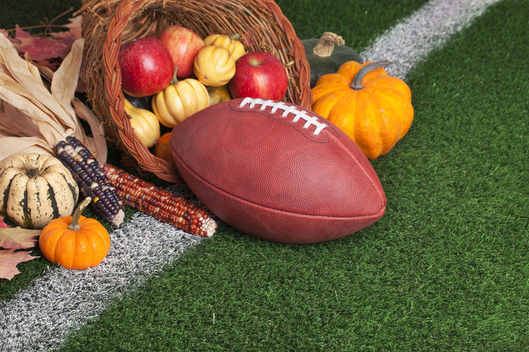 Autumn still life on american football field
