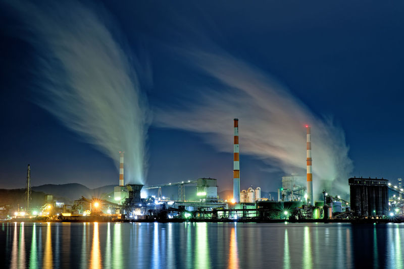 Panoramic view of illuminated factory against sky at night