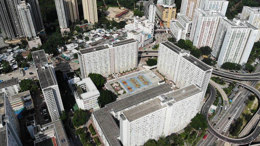 rainbow choi hung public building Public Exterior Housing Development Housing Settlement Choi Hung House Estate Public Housing Estate Hong Kong Modern Skyscraper Office Building Exterior Day Building Cityscape High Angle View Built Structure Architecture Building Exterior City Residential District Tall - High Drone  Dronephotography