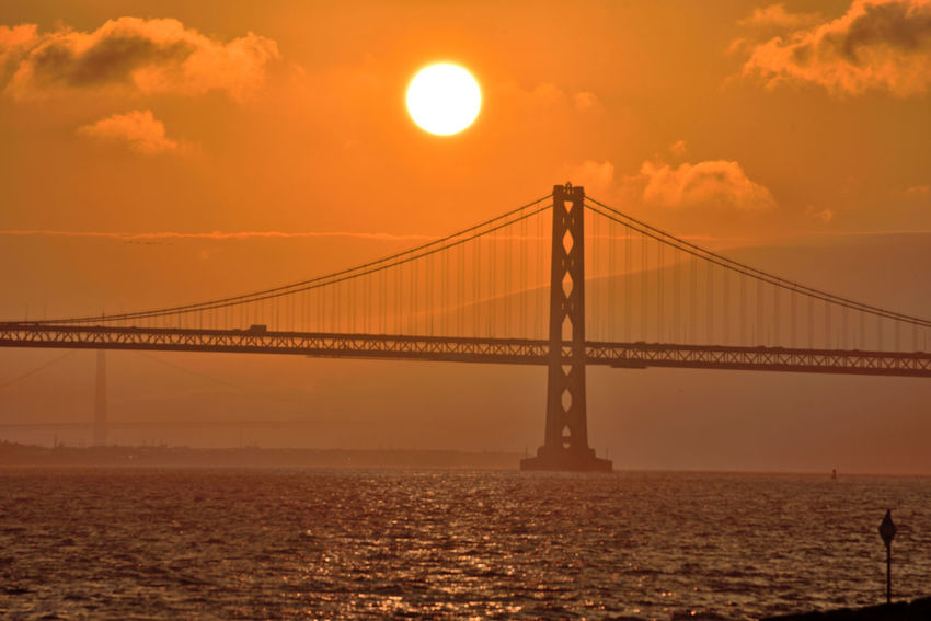 Sunset At Middle Harbor 4 Port Of Oakland,Ca. Middle Harbor Bay Bridge Tower & Span Marin Headlands Golden Gate Bridge San Francisco Bay Sundown Sunset Sun's Glow Sunset Silhouettes Sunset _collection Sky And Clouds Fog Marine Layers! Waterfront♥ Landscape_Collection Seascape Landscape_photography Traffic On Bridge Buoy Nature Nature_collection Beauty In Nature Scenic Romantic Sky Bay Of Water Suspension Bridge Dramatic Sky Water Surface