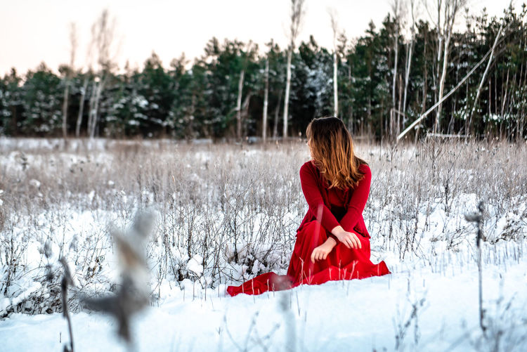 Morning Light Green White Background Pinetrees Tree Forest Copy Space Natural Snowy Cold Temperature Winter Snow Girl Woman In Red Red Dress Red Outdoors Nature Women One Person Young Adult Field Young Women Hair Beauty In Nature