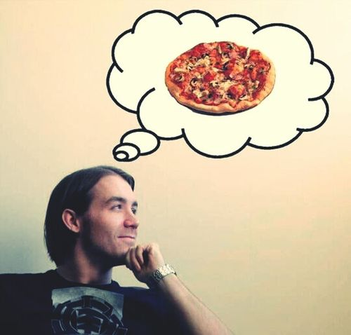 Hanging Out Pizza Thinking Hungry