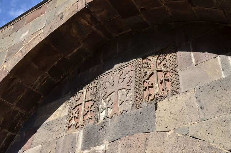 Armenia Armenian Church Geghard Geghard Monastery Ancient Ancient Civilization Archaeology Architecture Building Exterior Built Structure Day History Low Angle View No People Old Ruin Oriental Orthodox Church Outdoors Religion Shadow Sky Sunlight Travel Destinations W-armenien