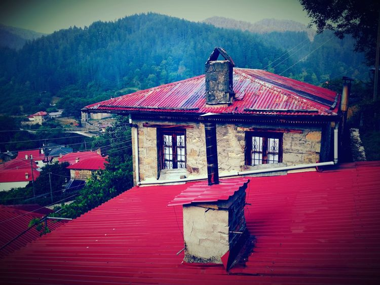 Red Built Structure House No People Architecture Building Exterior Outdoors Day Tree Sky Zagoroxoria,greece Vovousa Aoos