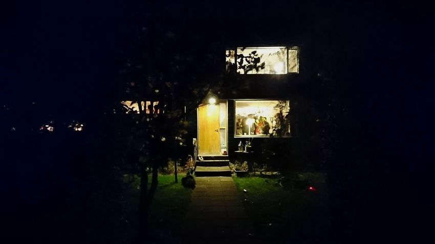 The house party. Sweden House Party Party At Home From The Outside Standing Outside City Life Rural Life Night Life Night Lights Night Photography Lights Light And Shadow Illuminated Tree Architecture