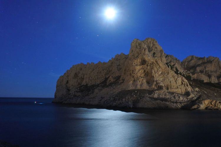 Scenic View Of Sea Against Night Sky