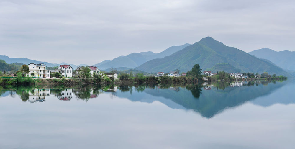 On the trip Mountain Reflection Water Waterfront Mountain Range Built Structure Architecture Building Lake Nature Tranquility River Mirror Travel Trip Anhui Taohuatan China
