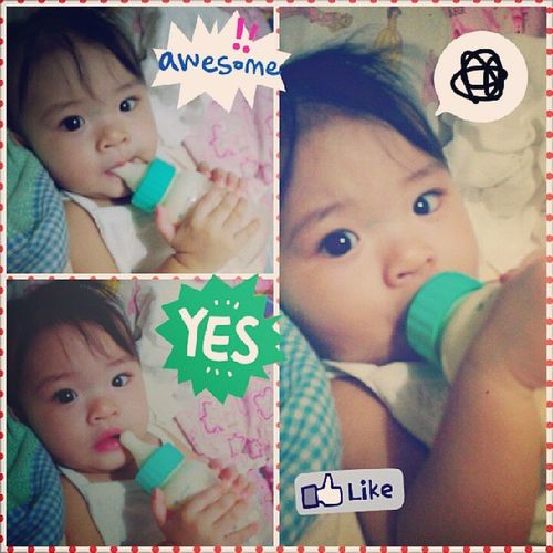 Iya holding her bottle :) Happy monthsary baby! 8months Cutecutebabyiya