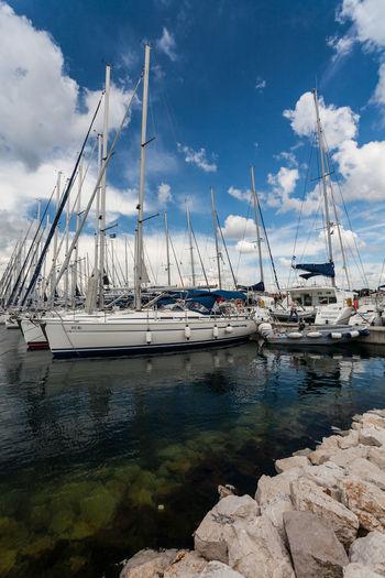 Sailboats in marina