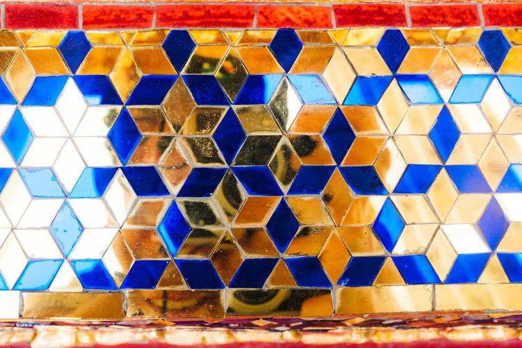 Mirroring Fujifilm_xseries Bangkok Thailand Blue Pattern No People Multi Colored Indoors  Full Frame Shape Geometric Shape Design Backgrounds Close-up Still Life Square Shape Side By Side Repetition Day Tile Wall - Building Feature Food And Drink