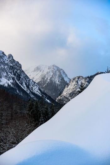 Mountain view of hochschwab mountains in tragos, oberort in austria styria.