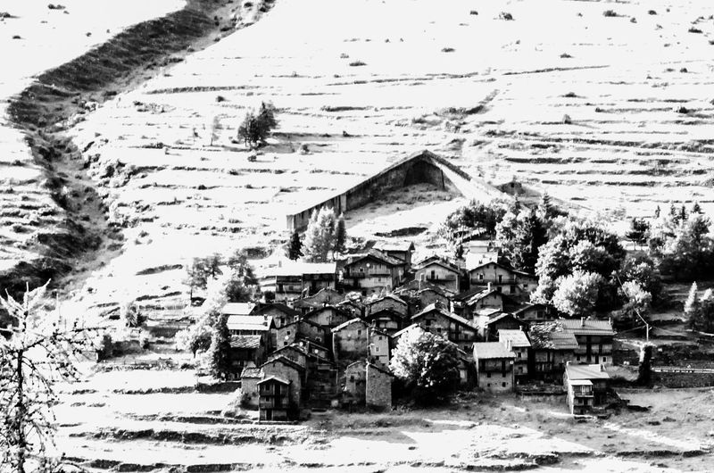 High angle view of house covered with snow