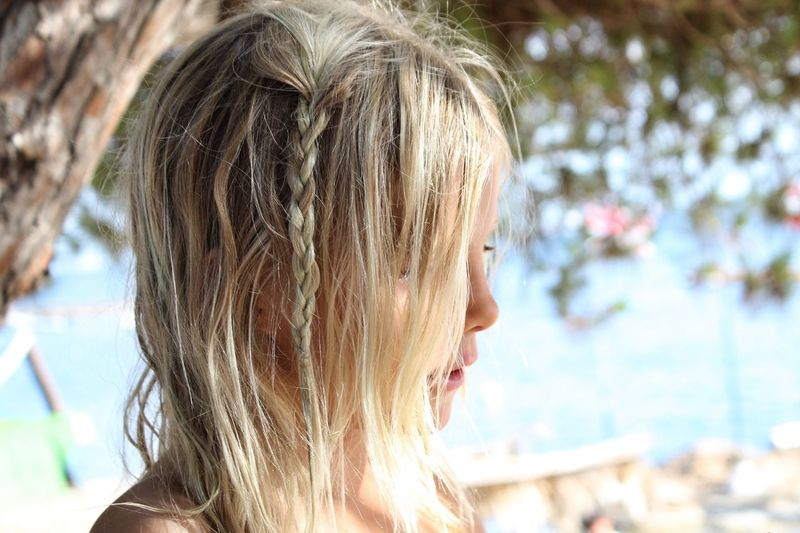 Beach hair Blond Hair Hair Beach Profile Braid Blonde Girl Portrait Summer Hairstyle Outdoors Headshot Real People Side View Close-up