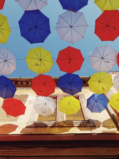 Rainbow umbrellas ☂... Layers Multi Colored City Urban Lifestyle Art Decoration Colorful Street Umbrellas Umbrellastreet Umbrellas Umbrella Multi Colored Art And Craft Creativity No People Indoors  Day Built Structure Full Frame Variation Architecture Wall - Building Feature Pattern Shape Backgrounds Tile Floral Pattern Geometric Shape Design Craft