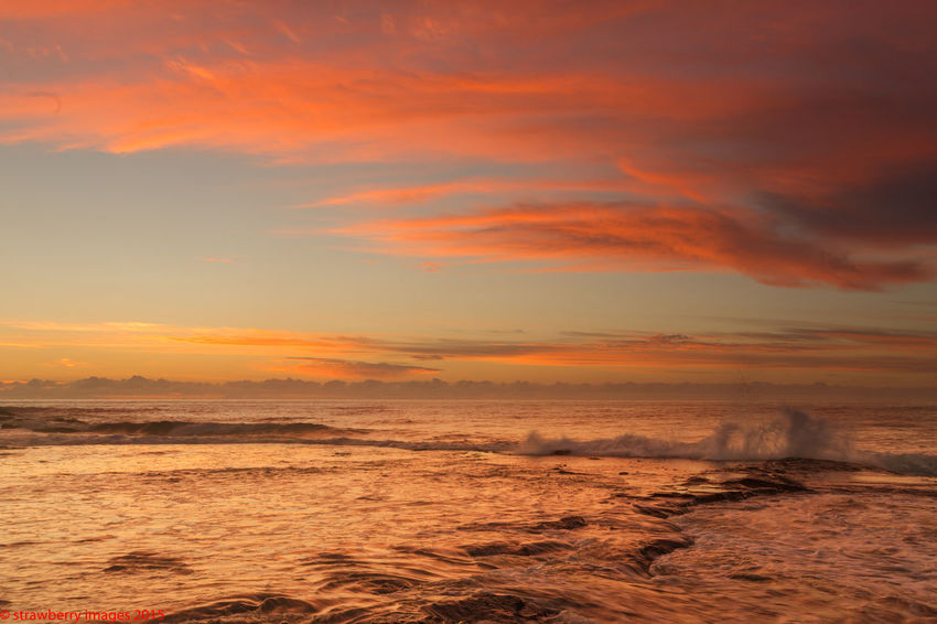 Beauty In Nature Cloud - Sky Day Horizon Over Water Idyllic Nature No People Outdoors Red Clouds Red Sunrise Scenics Sea Sky Sunrise Sunset Tranquil Scene Tranquility Travel Destinations Water Wave Waves And Rocks