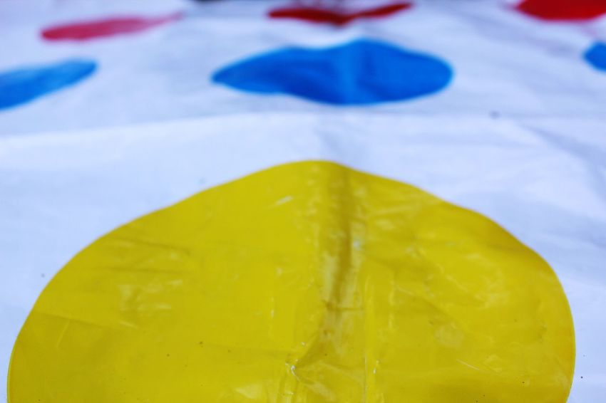 Close-up Twister Board Games Bbq Fun Times X Summer Hot Day Outdoors Yellow Low Angle View