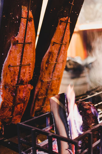Burning Heat - Temperature Flame Fire Food And Drink Fire - Natural Phenomenon Meat No People Food Barbecue Preparation  Close-up Grilled Metal Nature Wood - Material Freshness Barbecue Grill Preparing Food Wood