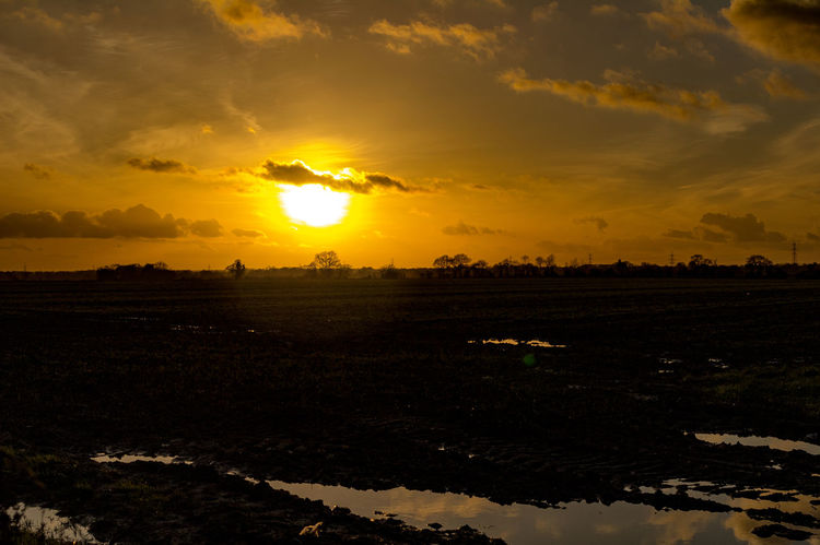 Sunset over fields off A140 near Dickleburgh, South Norfolk. A140 Road Dickleburgh Reflection South Norfolk Beauty In Nature Cloud - Sky Day Landscape Nature No People Outdoors Reflections In The Water Scenics Sky Sun Sunlight Sunset Tranquil Scene Tranquility Water