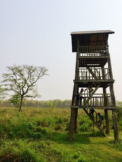 Built Structure Safety Security Nature Architecture Lookout Tower Grass Field Sky Protection Day Tree Outdoors Growth No People Landscape Beauty In Nature Water Tower - Storage Tank Lifeguard Hut View Tower Machan PhotoNepal Chitwan National Park