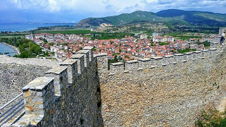 View from Ohrid fortress UNESCO World Heritage Site Macedonia Macedonian Beauty Lakeshore Lakeside Sky And Clouds Historical Place Medieval Castle Walls Culture Heritage Landscape Fortress Fortress Walls Stone Walls Lake Mountains Fortress In Europe Historical Place Fortress Europe City Ohrid Lake Ohrid Republic Of Macedonia Outdoors Day Mountain Sunlight Nature Sky History Mountain Range