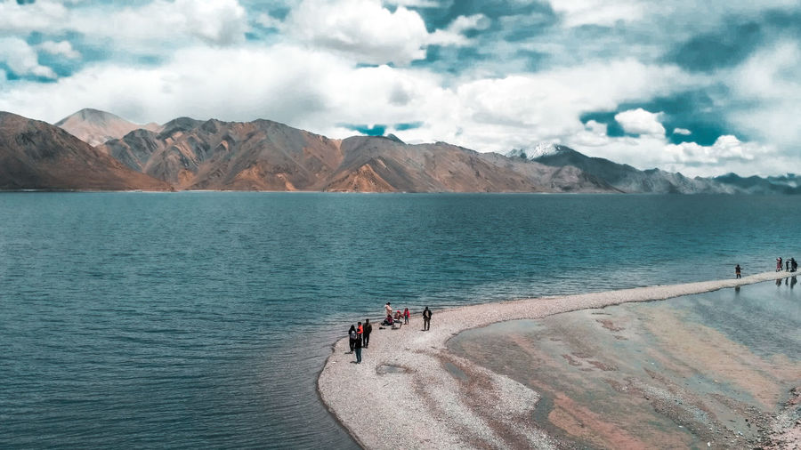 Scenic view of pangong lake and mountains against sky