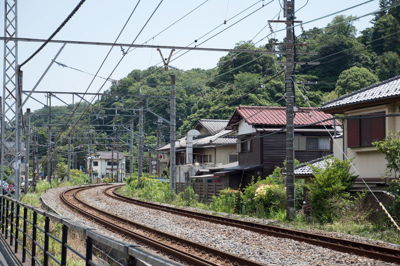 Architecture Built Structure Cable Day Growth Nature No People Power Line  Public Transportation Rail Transportation Railroad Track Sky Town Train Tree