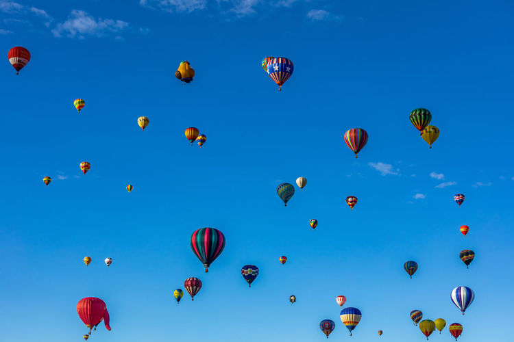 Hot Air Balloons fly over the city of Albuquerque, New Mexico during the mass ascension at the annual International Hot Air Balloon Fiesta in October, 2016 Ballooning Festival Blue Cloud - Sky Day Flying Hot Air Balloon Large Group Of Objects Mid-air Multi Colored No People Outdoors Sky Summer