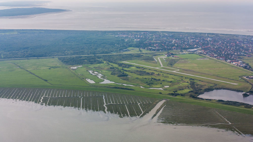 Aerial View Agriculture Aircraft Airport Airport Runway City Day EDLW Forest Grass Green Color Island Landscape Langeoog Nature No People Northsea Outdoors Rural Scene Scenics Sky Village Water