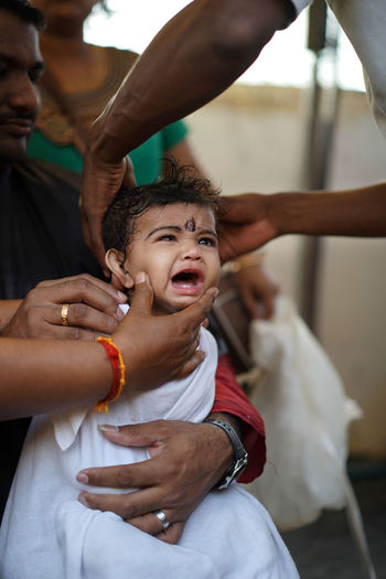 Thaipusam 2017 Tampoi Temple Portrait Real People Close-up Young Adult Cry Baby Crying Child Hair Cutting