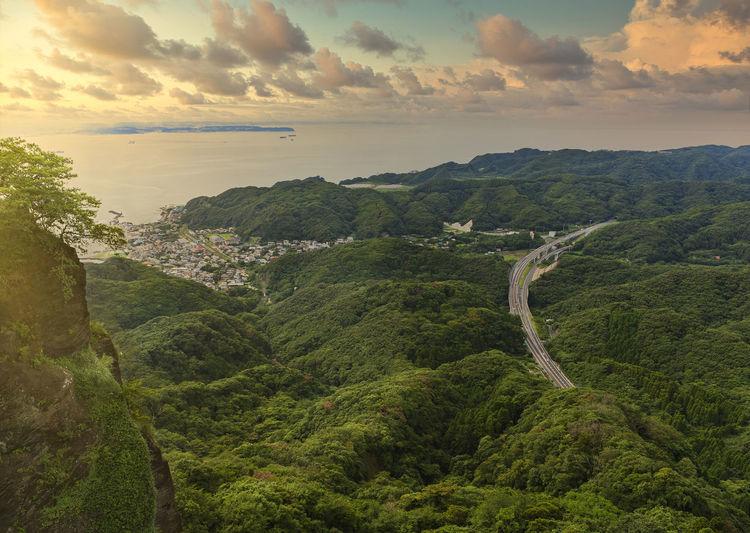 Sunset sky on the uraga channel and kanaya fishing village with the futtsu-tateyama road.