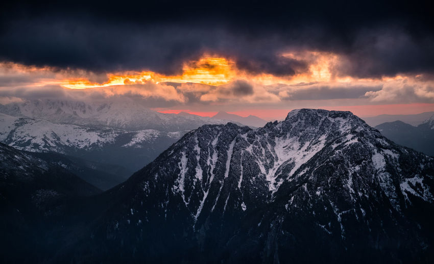 Mordor Dramatic Sky Beauty In Nature Cloud - Sky Cold Temperature Environment Idyllic Landscape Mountain Mountain Peak Mountain Range Nature No People Non-urban Scene Outdoors Scenics - Nature Sky Snow Snowcapped Mountain Sunset Tranquil Scene Tranquility Winter EyeEmNewHere