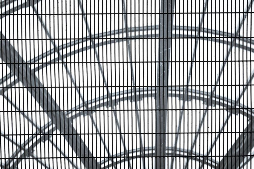 Full Frame Backgrounds Pattern Indoors  No People Architecture Day Built Structure Low Angle View Complexity Modern Close-up Sky Metal Frame Mesh